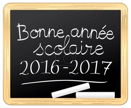 Illustration pour Bonne annee scolaire 2016 2017 sur ardoise. Icône vectorielle . - image libre de droit