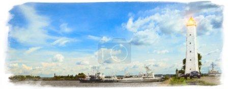 Кронштадтская набережная с маяком и кораблями