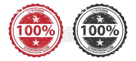 Photo pour 100 % Qualité Grunge Stamp Rouge et Noir Isolé sur blanc - image libre de droit