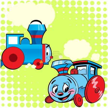 Photo pour L'illustration montre deux modèles de la locomotive comme jouet d'enfant. Illustration faite dans le style de dessin animé, fait sur des couches séparées . - image libre de droit