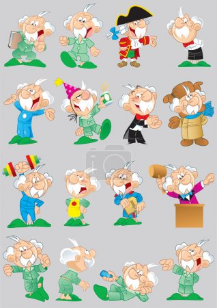 poses and images of cartoon grandfather