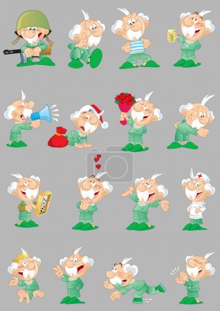 Illustration for The illustration shows a number of poses of a elderly grandfather in different clothes and lifestyle, with a variety of emotions and objects. Illustration done in cartoon style isolated on gray background, on separate layers. - Royalty Free Image