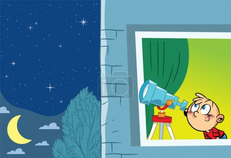 Illustration for The illustration shows a young astronomer who observes from the window of the stars through a telescope - Royalty Free Image