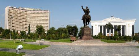 Statue of Amir Temur (Timur) on horse in Tashkent ...