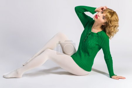 Woman in white tights