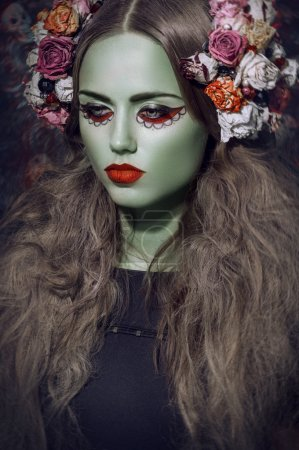 portrait of   woman with green skin