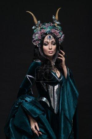 fantasy elf woman in floral crown