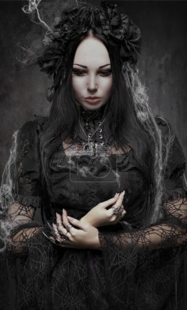 Gothic woman   in dark dress