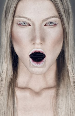 Photo for Beautiful portrait of  blond  woman with open mouth - Royalty Free Image