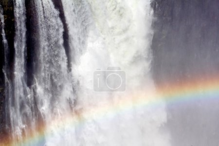 The Victoria falls with rainbow on water