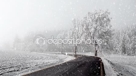 Rural winter road going in to the fog with snow, christmas scene background