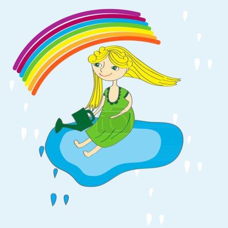 Illustration pour Petite fille sur le ciel et arc-en-ciel - image libre de droit