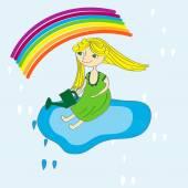 Dívka a rainbow