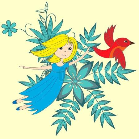 Flying little girl