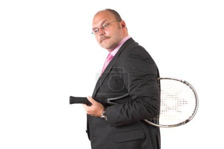 Businessman with squashracket