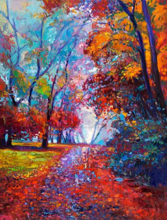 Photo for Original oil painting showing beautiful Autumn forest on canvas. Modern Impressionism - Royalty Free Image