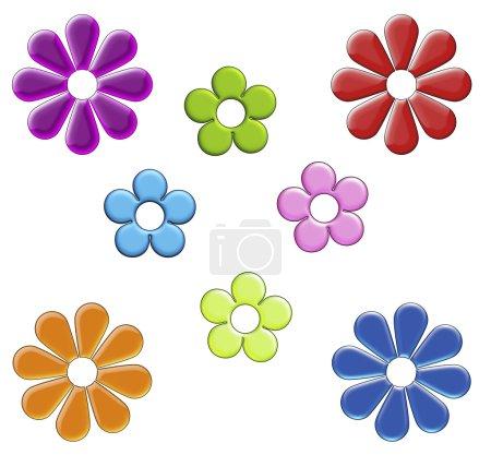 Photo pour Une collection de divers taille, couleur et forme des fleurs sur blanc. - image libre de droit
