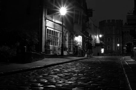 Black and white cobbled street view