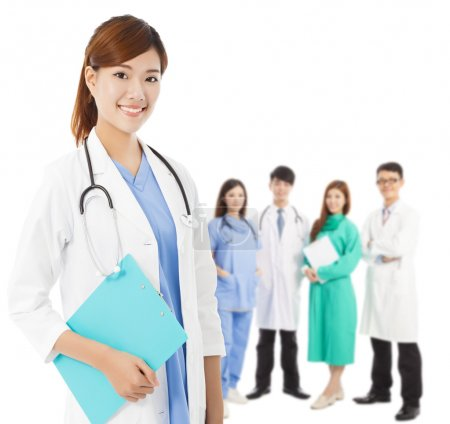 Professional medical doctor with her team