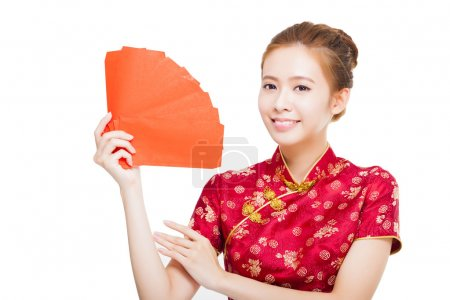 beautiful young asian woman holding red bag for rich