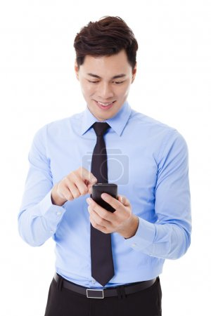 young smiling businessman with smart phone