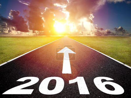 road to new yea 2016  and  sunrise background