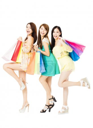 Photo for Group of happy young woman with shopping bags - Royalty Free Image