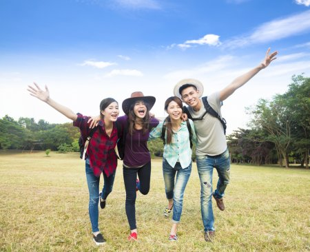 Photo for Happy young group enjoy vacation and tourism - Royalty Free Image