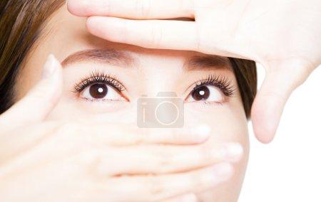 Closeup shot of young woman eyes makeup