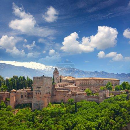 European travel landmark - arabic fortress Alhambra, Granada, Sp
