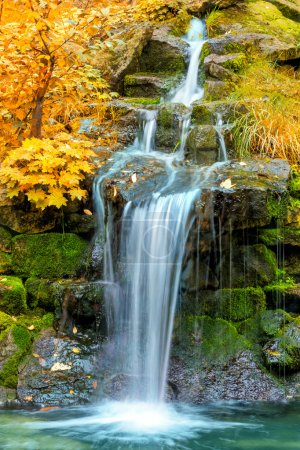 Landscape of Waterfall in yellow Autumn forest