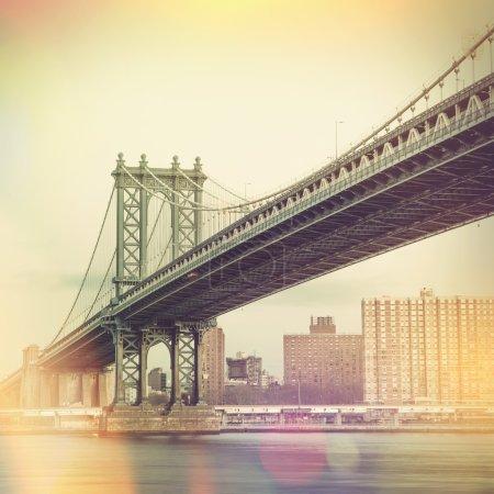 Manhattan Bridge and New York City - vintage style