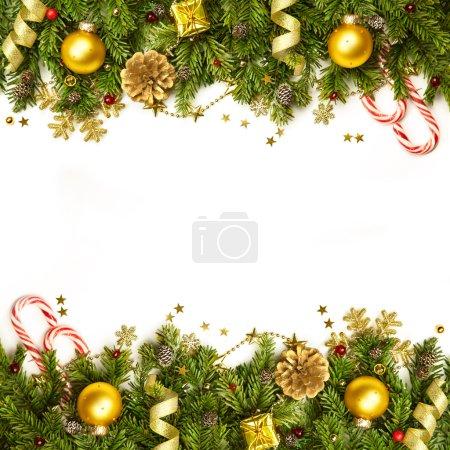 Christmas Decoration Border - background isolated on white - hor
