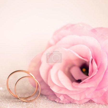 Delicate Wedding background with Rings and Pink Flower