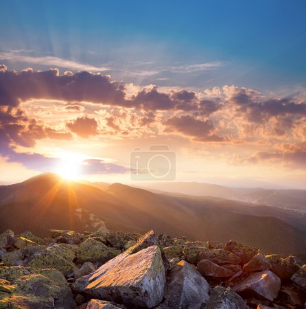 Photo for Beautiful  sunset in the mountains landscape. Dramatic sky and colorful stones. Carpathians, Ukraine, Europe - Royalty Free Image