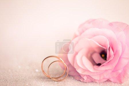 Foto de Gentle Pink Wedding Background with Rings and Beautiful Flower - Imagen libre de derechos