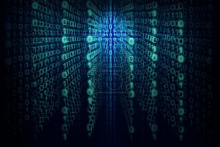 Matrixhintergrund mit den grünen und blauen Symbolen