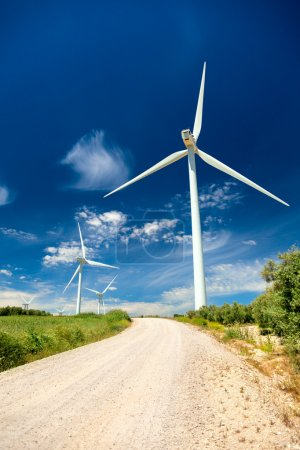 Wind Generator Turbines in Real Landscape - energy concept
