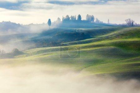 Photo pour Vallée magique de Foggy dans le paysage du matin, Toscane, Italie, Europe - image libre de droit