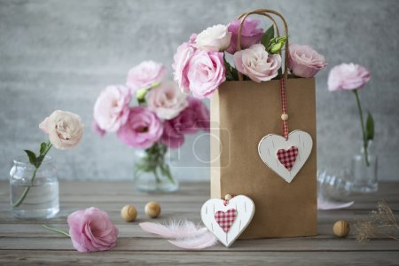 Lovel background with flowers and hearts