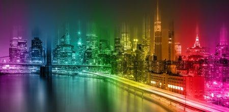 Photo pour Résumé Fantastique scène de nuit colorée de New York avec Manhattan skyline et Brooklin Bridge - image libre de droit