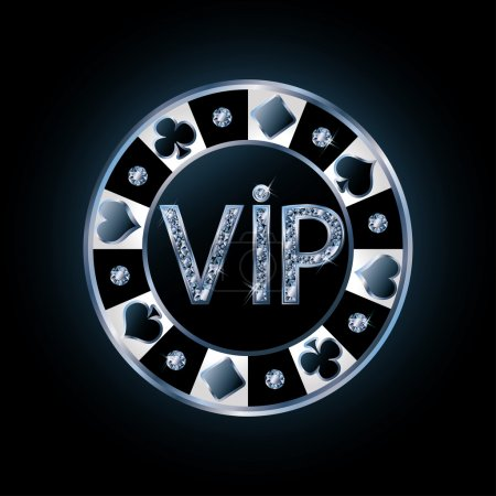 Diamond VIP poker chip, vector illustration