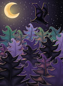 Night background with forest bat vector illustration