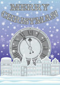 New year and Merry Christmas card with clock and winter city vector illustration