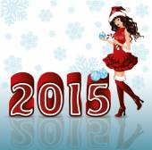 Happy New 2015 Year background with Santa girl vector illustration