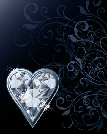 Diamond poker hearts card, vector illustration
