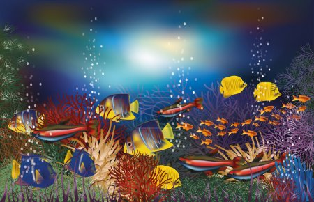 Illustration for Underwater background with tropical fish, vector illustration - Royalty Free Image