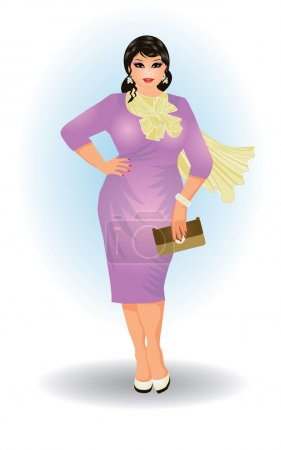 Illustration for Plus size fashion business woman , vector illustration - Royalty Free Image