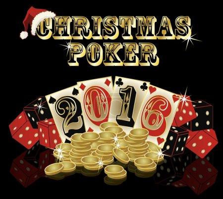 Christmas poker background, vector illustration