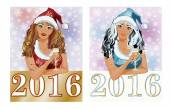 Happy 2016 new year calendar with santa girls vector illustration